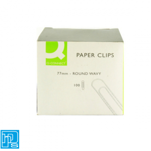 Paperclips 77mm Round Wavy Pack of 100 Q-Connect KF27004