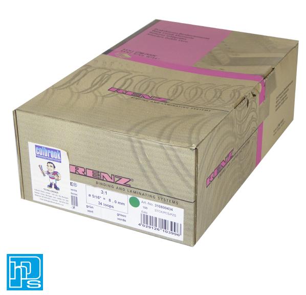Renz Premium Quality 8mm 60 Sheet (No. 5) A4 3:1, 34 Loop Binding Wires, Green. Maximum Book Thickness - 6.4mm Maximum Sheets 80gsm x 60