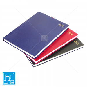 2019 A4 2 Page A Day Diaries Black Burgundy Blue